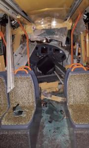 Intérieur d'une des rames accidentées. © SUD RATP
