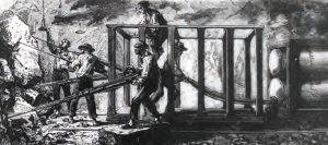 La machine perforatrice de G. Someiller en pleine action sous le Mont-Cenis. © Collection LVDR