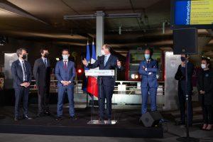 Inauguration par Jean Castex du train de nuit Paris-Nice le 20 mai 2021. © Eric Pothier